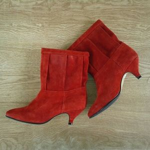 Predictions Red suede booties sz 7